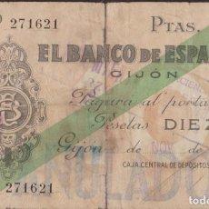Billetes locales: BILLETES LOCALES - GIJÓN 10 PESETAS 1936 - SIN SERIE - PG-404 (BC-). Lote 257786915