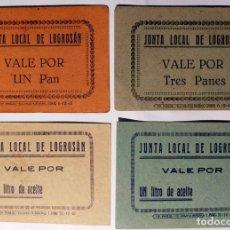 Billetes locales: LOGROSÁN (CÁCERES) LOTE DE 4 VALES. 2 DE PAN Y 2 DE ACEITE. AÑOS 40. VER FOTOS.. Lote 261608175