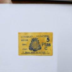 Billetes locales: BILLETE LOCAL DE 5 PTAS CONSEJO MUNICIPAL ANDUJAR ( JAÉN ).. Lote 261734480