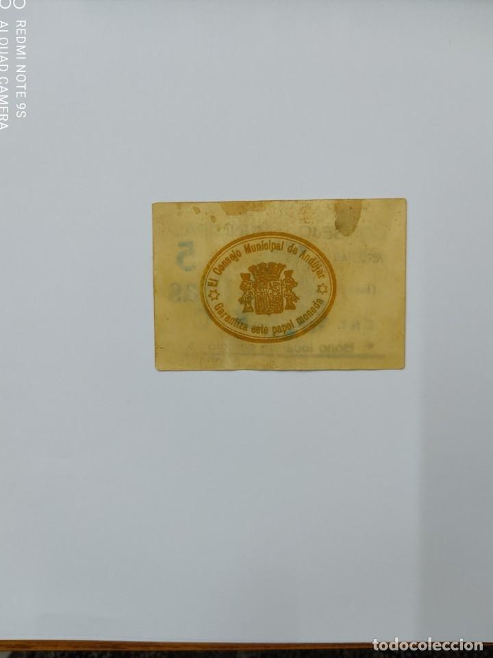 Billetes locales: Billete local de 5 Ptas Consejo Municipal Andujar ( Jaén ). - Foto 2 - 261734480