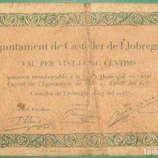 Billetes locales: CATALUÑA/CATALUNYA . 25 CÉNTIMOS- CASTELLET DE LLOBREGAR (BARCELONA). SERIE A. GUERRA CIVIL. Lote 262072860
