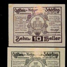 Billetes locales: AUSTRIA - 3 PEQUEÑOS BILLETES DE PUEBLO , 10, 20 Y 50 HELLER, 1920. Lote 262281895
