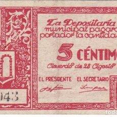 Billets locaux: BILLETE DE 5 CENTIMOS DEL CONSEJO MUNICIPAL DE GRAUS DEL AÑO 1937 (HUESCA). Lote 264317864
