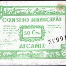 Billetes locales: ALCAÑIZ (TERUEL) - 50 CENTIMOS 1937. Lote 264355959