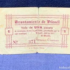 Billetes locales: BILLETE VAE 1 PESETA AYUNTAMIENTO DE DILOSELL 4/1937 Nº 371 7X11CMS. Lote 265499754