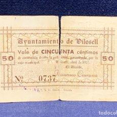 Billetes locales: BILLETE VALE 50 CENTIMOS AYUNTAMIENTO DILOSELL 4/1937 Nº 0737 FRANCISCO CIURANA 7X11CMS. Lote 265500139