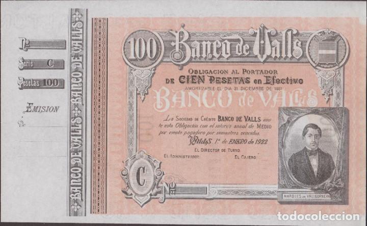 BILLETES LOCALES - BANCO DE VALLS - TARRAGONA - 100 PESETAS 1-1-1922 (SC-) (Numismática - Notafilia - Billetes Locales)