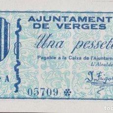Billetes locales: BILLETES LOCALES GUERRA CIVIL - VERGES - GIRONA - 1 PESSETA S/F - T-3149 (SC). Lote 265690864