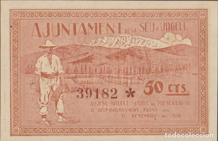 Billetes locales: BILLETES LOCALES - SEU D´URGELL - LLEIDA - 50 CÉNTIMS 1937 - T-2752A (SC) - Foto 2 - 265691079