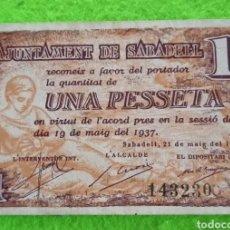 Billetes locales: UN BILLETE DE UNA PESETA DE 1937. DEL AJUNTAMENT DE SABADELL.. Lote 268466139