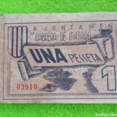 Billetes locales: UN BILLETE DE UNA PESETA DE 1937 DEL AJUNTAMENT DE CABRERA DE MATARÓ. Lote 268466339