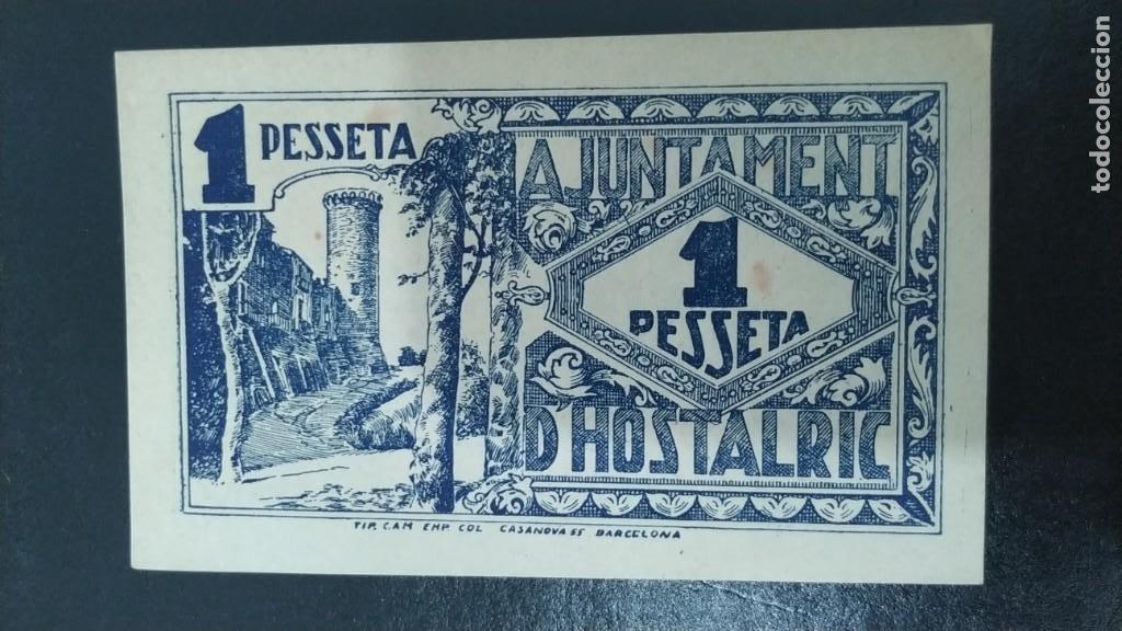 Billetes locales: BILLETE DE 1 PESETA DEL AJUNTAMENT DE HOSTALRIC SC 1937 - Foto 2 - 269111368