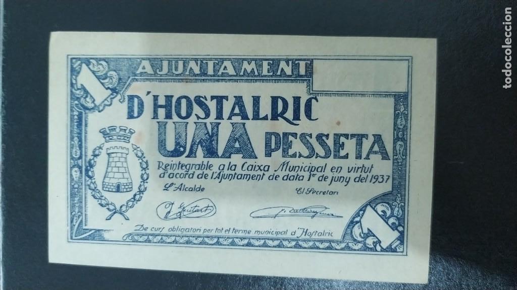 BILLETE DE 1 PESETA DEL AJUNTAMENT DE HOSTALRIC SC 1937 (Numismática - Notafilia - Billetes Locales)