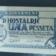 Billetes locales: BILLETE DE 1 PESETA DEL AJUNTAMENT DE HOSTALRIC SC 1937. Lote 269111368