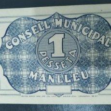 Billetes locales: BILLETE LOCAL 1 PESETA MANLLEU SC. Lote 269112633