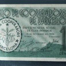 Billetes locales: BILLETE LOCAL 10 CENTIMOS UNIO DE COOPERADORS BARCELONA 1937 GUERRA CIVIL. Lote 269113928