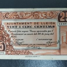 Billetes locales: DOS BILLETES AJUNTAMENT DE LLEIDA.25 Y 50 CENTIMOS GUERRA CIVIL. Lote 269115643