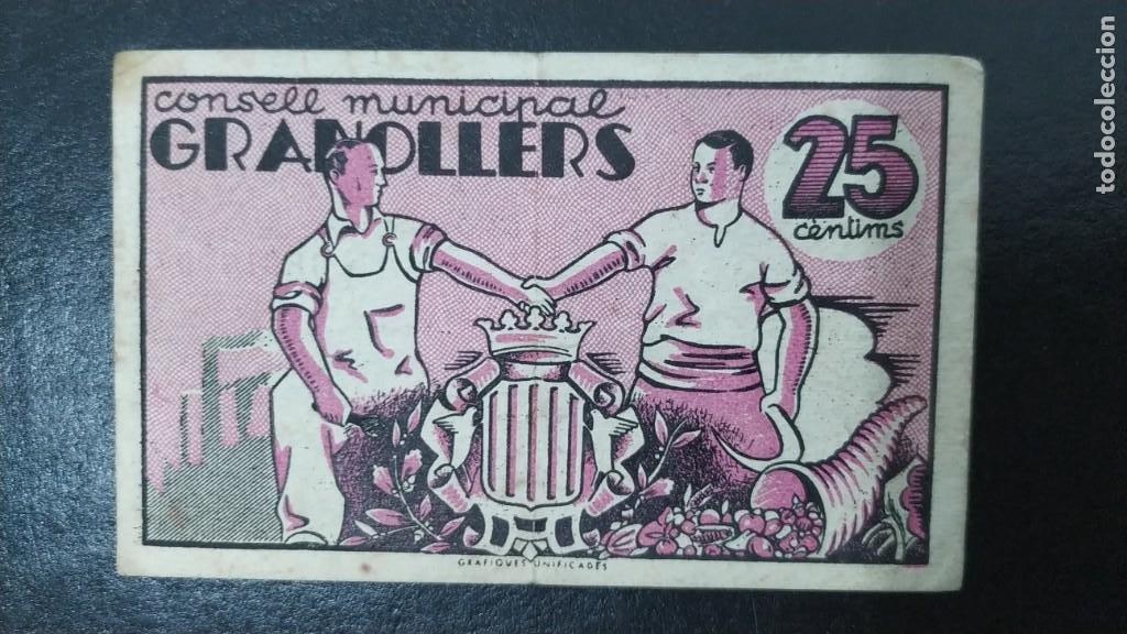 BILLETE DEL CONSELL MUNICIPAL DE GRANOLLERS. 25 CENTIMOS DEL AÑO 1937. GUERRA CIVIL (Numismática - Notafilia - Billetes Locales)