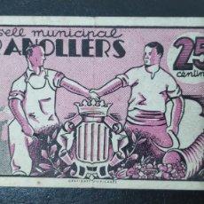 Billetes locales: BILLETE DEL CONSELL MUNICIPAL DE GRANOLLERS. 25 CENTIMOS DEL AÑO 1937. GUERRA CIVIL. Lote 269120338