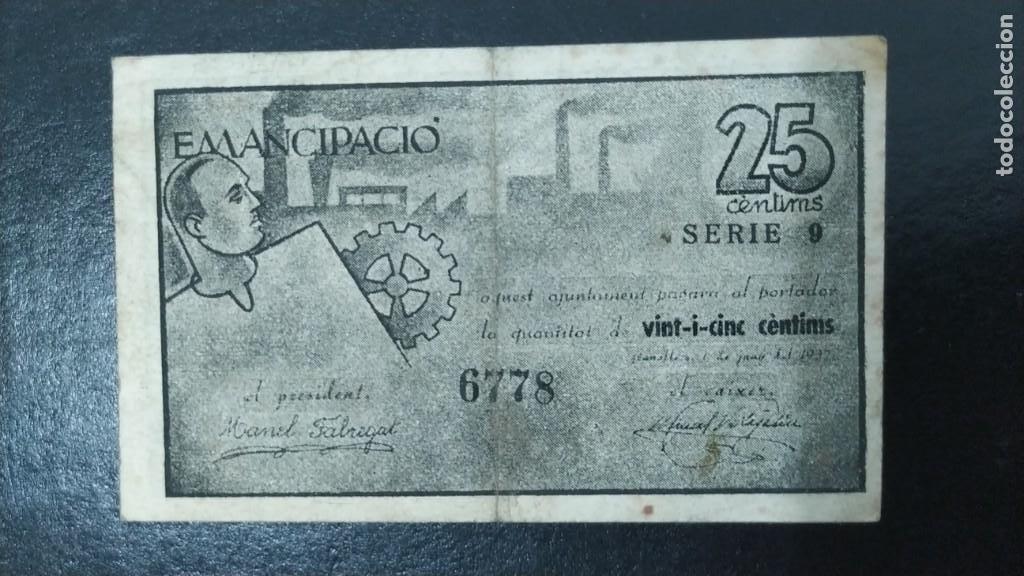 Billetes locales: BILLETE DEL CONSELL MUNICIPAL DE GRANOLLERS. 25 CENTIMOS DEL AÑO 1937. GUERRA CIVIL - Foto 2 - 269120338