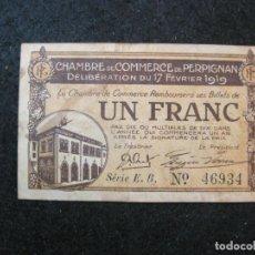 Billetes locales: CHAMBRE DE COMMERCE DE PERPIGNAN-UN FRANC-AÑO 1919-BILLETE LOCAL-VER FOTOS-(81.707). Lote 269721803