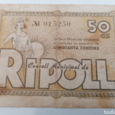 Billetes locales: RIPOLL. GIRONA. CONSELL MUNICIPAL. 50 CENTIMS.. Lote 269803688