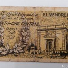 Billetes locales: EL VENDRELL. TARRAGONA. AJUNTAMENT. 25 CENTIMS. Lote 269803853