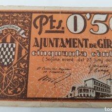 Billetes locales: GIRONA. AJUNTAMENT. 50 CENTIMS. Lote 269803983