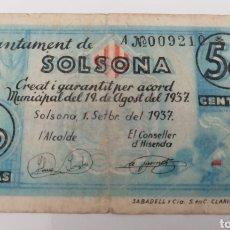 Billetes locales: SOLSONA. LLEIDA. AJUNTAMENT. 50 CENTIMS.. Lote 269804083