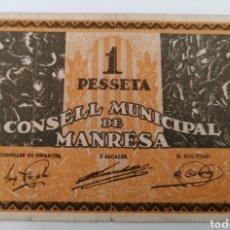 Billetes locales: MANRESA. BARCELONA. CONSELL MUNICIPAL. 1 PESSETA. Lote 269804428