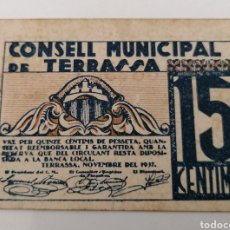 Billetes locales: TERRASSA. BARCELONA. CONSELL MUNICIPAL. Lote 269805223