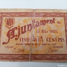 Billetes locales: SEU D`URGELL. LLEIDA. AJUNTAMENT. 50 CENTIMS.. Lote 270105953