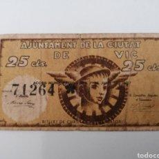 Billetes locales: VIC. BARCELONA. AJUNTAMENT. 25 CENTIMS. Lote 270106158