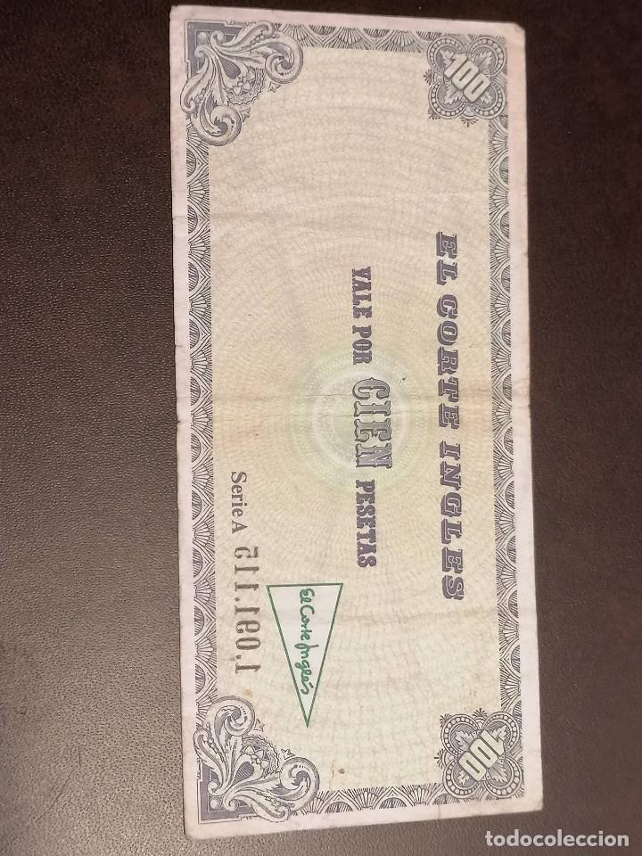 BILLETE ESPAÑA CORTE INGLES 100 PESETAS MBC (Numismática - Notafilia - Billetes Locales)