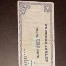 Billetes locales: BILLETE ESPAÑA CORTE INGLES 100 PESETAS MBC. Lote 271369378