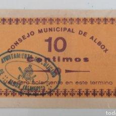 Billetes locales: ALBOX. ALMERÍA. CONSEJO MUNICIPAL. 10 CENTIMOS. Lote 271988568