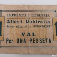 Billetes locales: MANRESA. BARCELONA. IMPRENTA I LLIBRERIA ALBERT RUBIRALTA. VAL 1 PESSETA. Lote 271988743