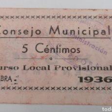 Billetes locales: CABRA. CORDOBA. CONSEJO MUNICIPAL. 1936, 5 CÉNTIMOS. Lote 271988878