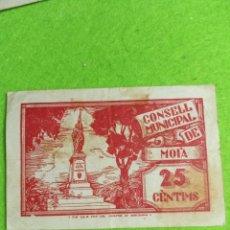 Billetes locales: UN BILLETE DE 25 CENTIMOS DEL CONSELL MUNICIPAL DE MOIA. DE 1937. Lote 272768818