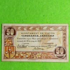 Billetes locales: UN BILLETE DE 50 CENTIMOS DEL AJUNTAMENT DE LLEIDA DE 1937.. Lote 272772548