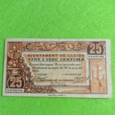Billetes locales: UN BILLETE DE 25 CENTIMOS DEL AJUNTAMENT DE LLEIDA DE 1937. Lote 272773018
