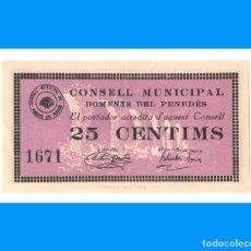 Billetes locales: DOMENYS DEL PENEDÈS (TARRAGONA) 25 CTS SC-. Lote 274188908