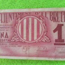 Billetes locales: BILLETE DE UNA PESETA DEL AJUNTAMENT DEL BRUCH.. Lote 275541308