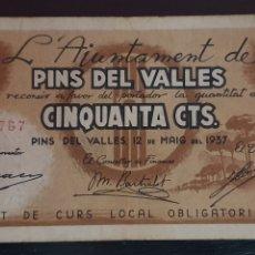 Billetes locales: BILLETE DE PINS DEL VALLÉS (SANT CUGAT DEL VALLÉS) 50 CTS. Lote 277130113