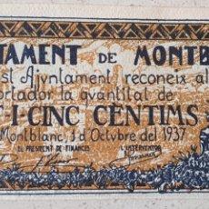 Billetes locales: BILLETE DE MONTBLANC: 25 CENTIMOS - SC.. Lote 277133758