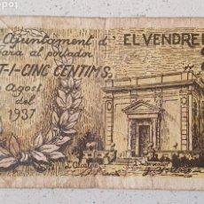Billetes locales: BILLETE DE EL VENDRELL, 25 CÉNTIMOS - 1937.. Lote 277135493