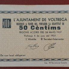 Billetes locales: BILLETE, AJUNTAMENT DE VOLTREGÀ - 50 CENTIMOS. SC. Lote 277148403