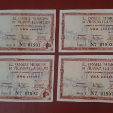 Billetes locales: VILANOVA I LA GELTRÚ - 4 BILLETES CORRELATIVOS - 1 PESETA - SC. Lote 277153058
