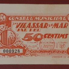 Billetes locales: BILLETE DE VILASSAR DE MAR - 50 CÉNTIMOS - CONSELL MUNICIPAL. Lote 277203423