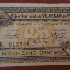 Billetes locales: BILLETE DE VILASSAR DE MAR - 25 CÉNTIMOS. Lote 277203558